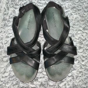 Merrill Black Strappy Leather Sandals